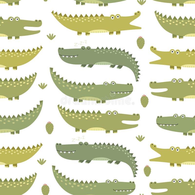 Modelo inconsútil de los cocodrilos lindos ilustración del vector
