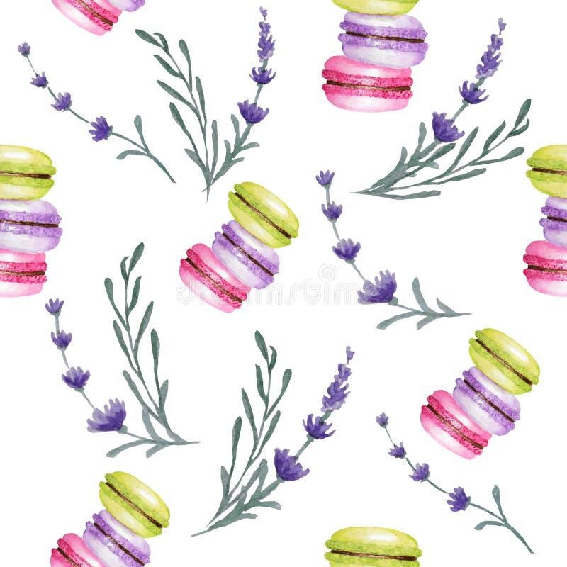 Modelo inconsútil de los colores de Macarons de la acuarela brillante de la torta en el fondo blanco con las flores de la lavanda imágenes de archivo libres de regalías