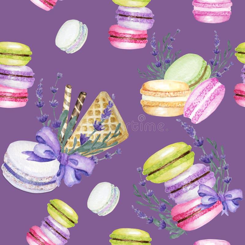 Modelo inconsútil de los colores de Macarons de la acuarela brillante de la torta en fondo púrpura con las flores de la lavanda D foto de archivo