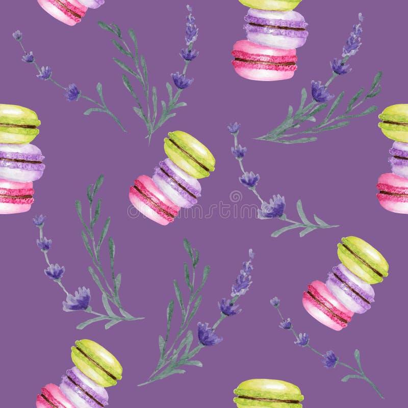Modelo inconsútil de los colores de Macarons de la acuarela brillante de la torta en fondo púrpura con las flores de la lavanda D stock de ilustración