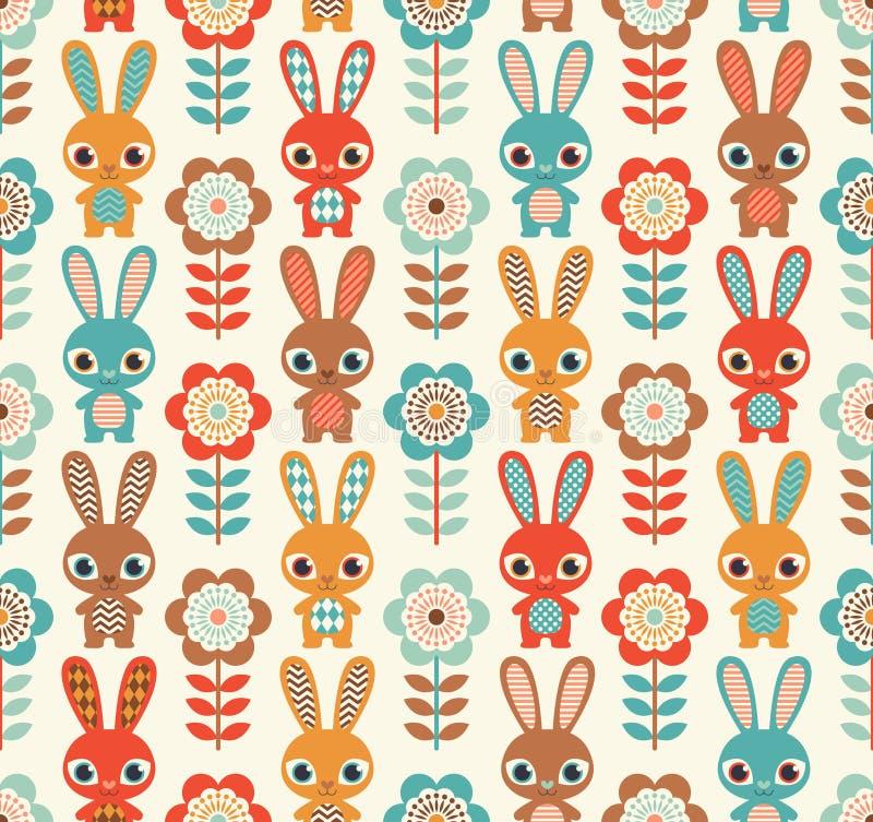 Modelo inconsútil de los conejos de la historieta stock de ilustración