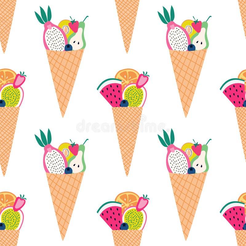 Modelo inconsútil de los conos coloridos de la fruta con la fruta cortada stock de ilustración