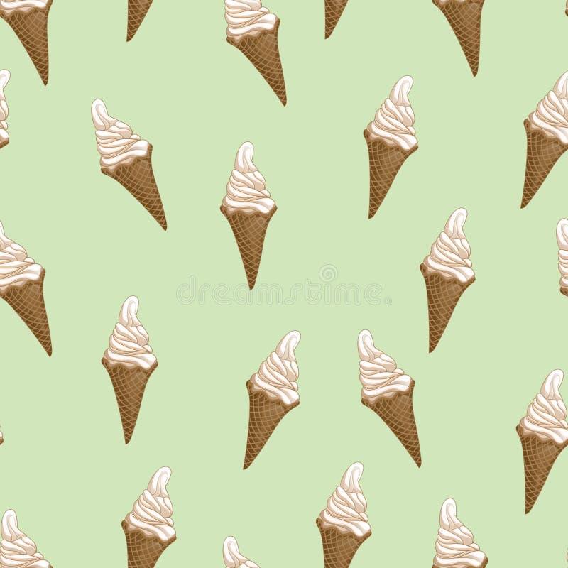 Modelo inconsútil de los conos de la galleta del helado Ejemplo estilizado del vector libre illustration
