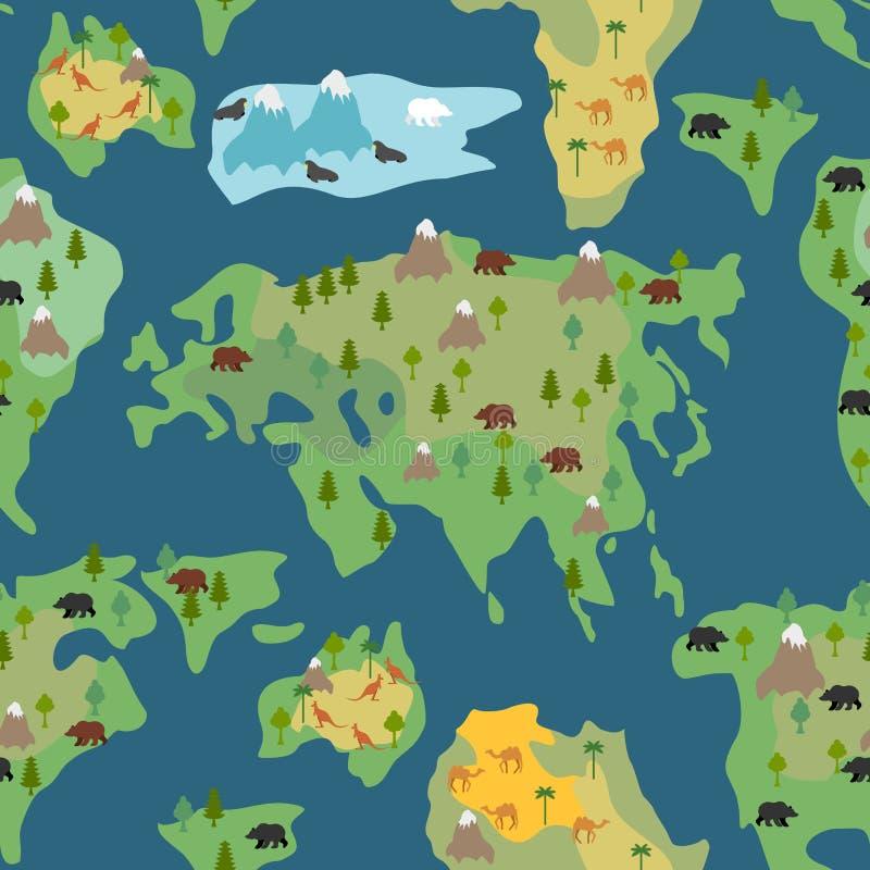 Modelo inconsútil de los continentes El mapa del mundo es ornamento sin fin geog stock de ilustración