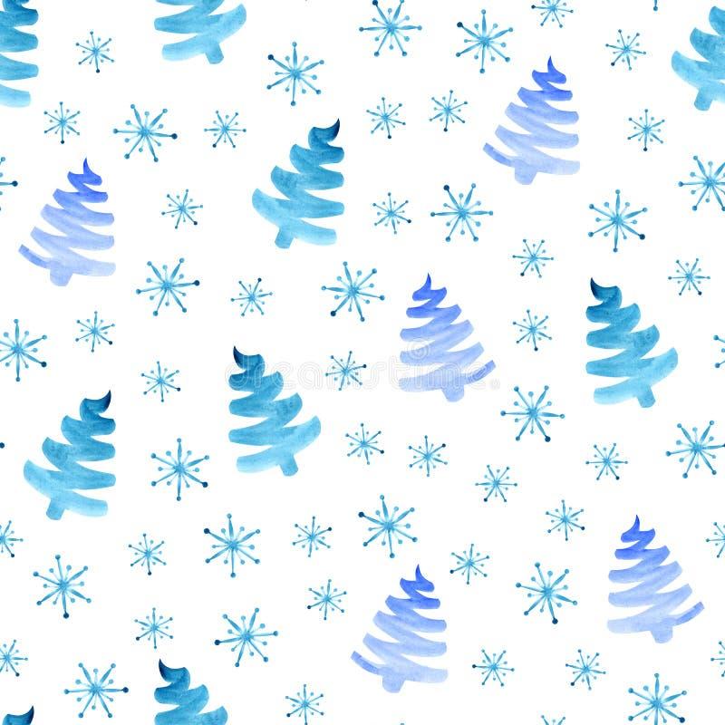 Modelo inconsútil de los copos de nieve de los árboles de navidad libre illustration