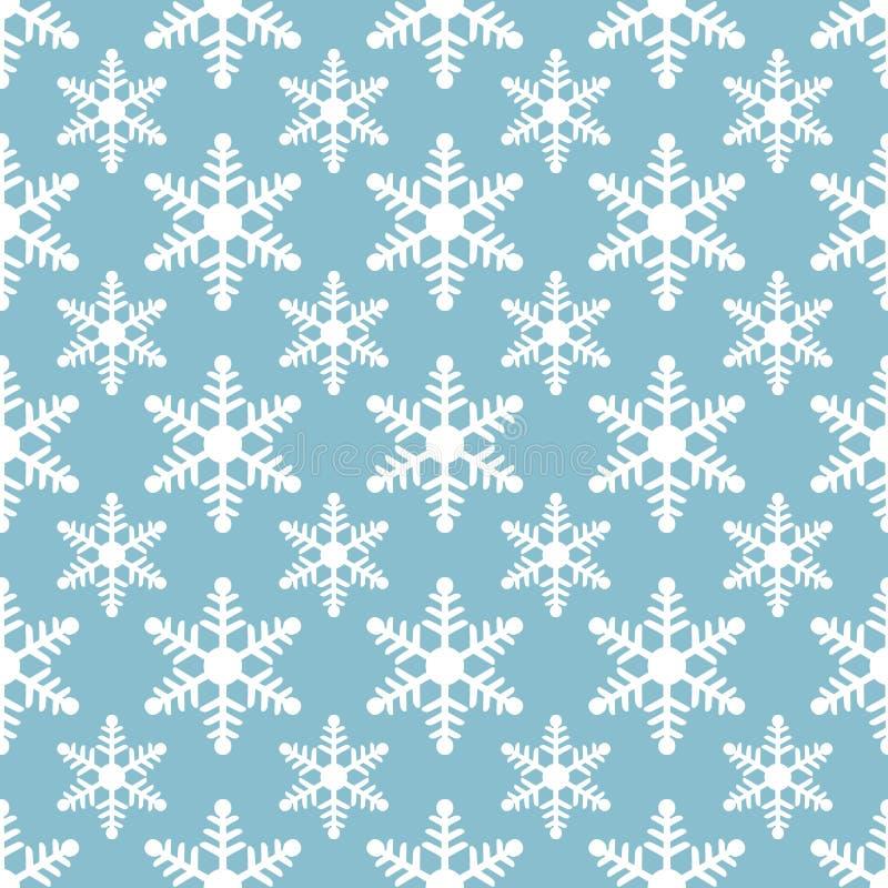 Modelo inconsútil de los copos de nieve blancos en fondo azul libre illustration