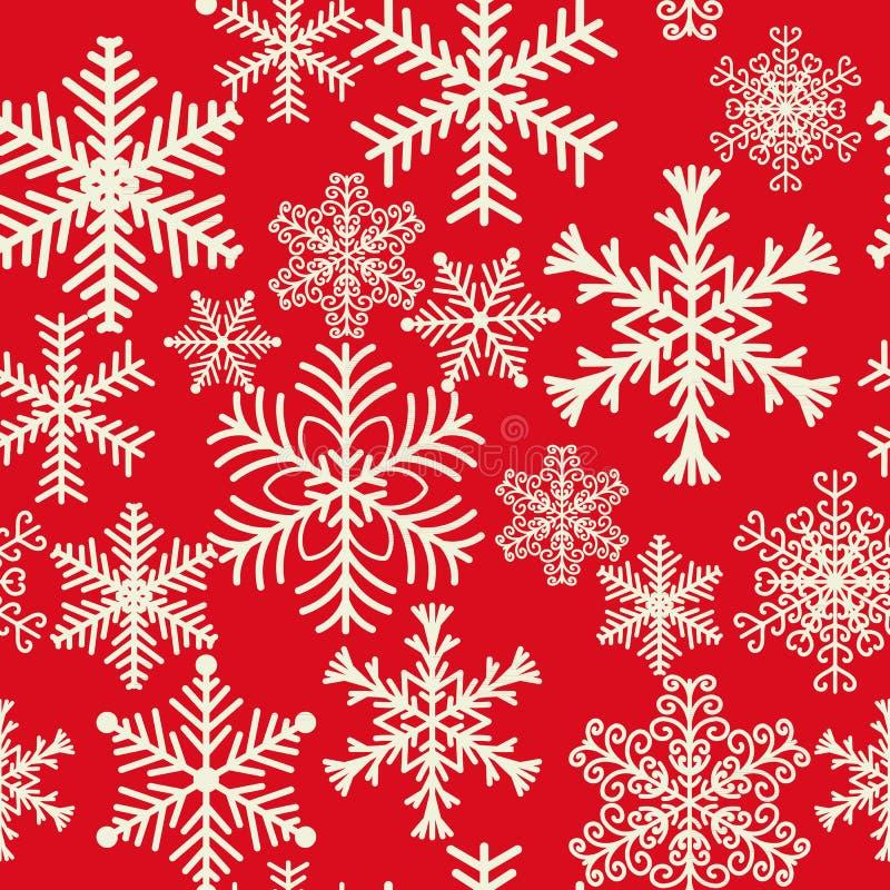 Modelo inconsútil de los copos de nieve de diversas formas Nieve blanca del invierno en un fondo rojo ilustración del vector