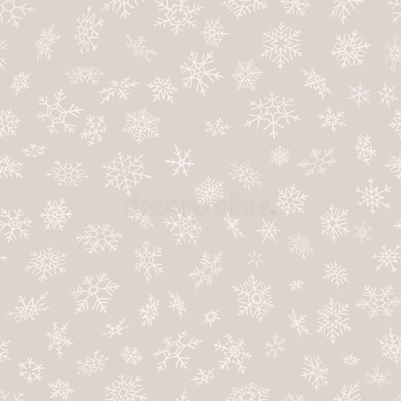 Modelo inconsútil de los copos de nieve de la Feliz Navidad y de la Feliz Año Nuevo Perfeccione para el papel o la materia textil ilustración del vector