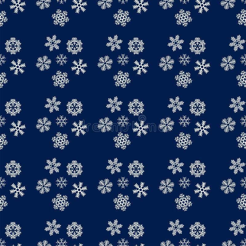 Modelo inconsútil de los copos de nieve de la Navidad y del Año Nuevo libre illustration