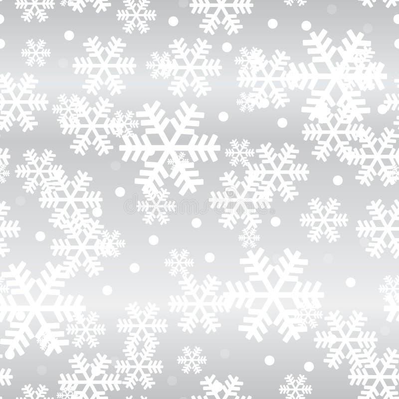 Modelo inconsútil de los copos de nieve de plata de la Navidad que brilla intensamente ilustración del vector
