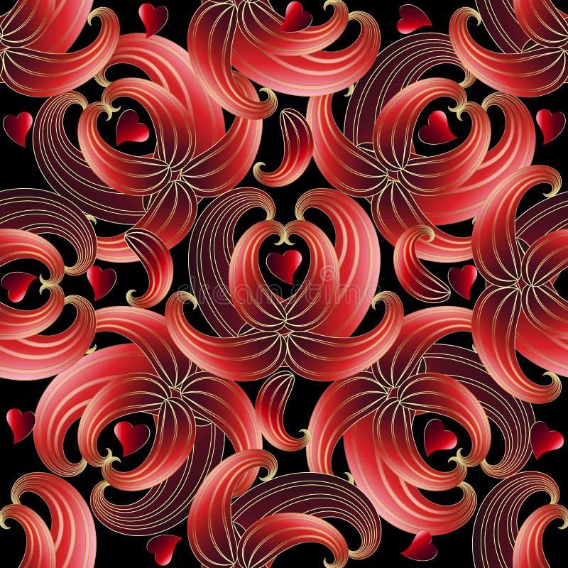 Modelo inconsútil de los corazones abstractos del amor 3d del vector Pais ornamentales ilustración del vector