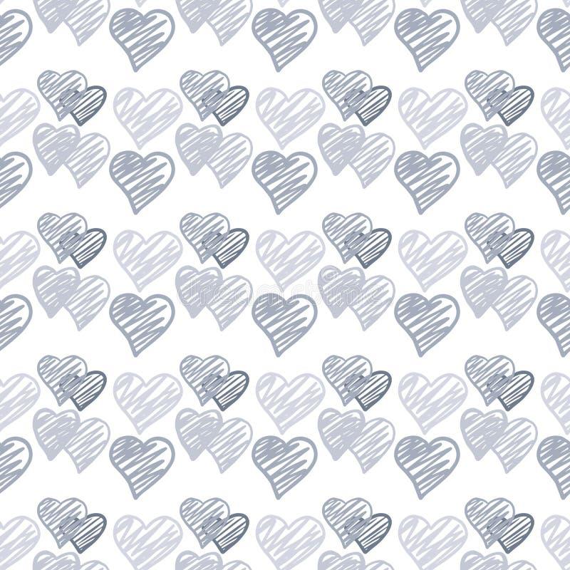 Modelo inconsútil de los corazones azules en el fondo blanco 14 de febrero papel pintado libre illustration