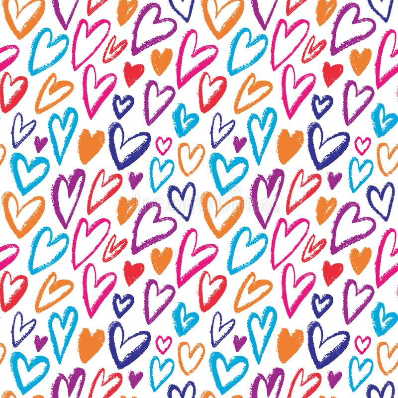 Modelo inconsútil de los corazones del arco iris Vector que repite textura Ornamento brillante para el papel de embalaje, el dise stock de ilustración