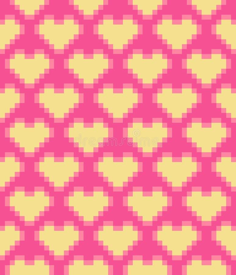 Modelo inconsútil de los corazones del pixel del vector ilustración del vector