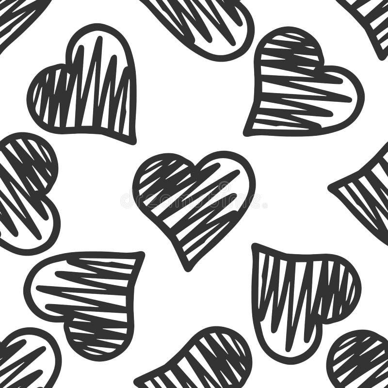 Modelo inconsútil de los corazones geométricos exhaustos de la mano negra ilustración del vector