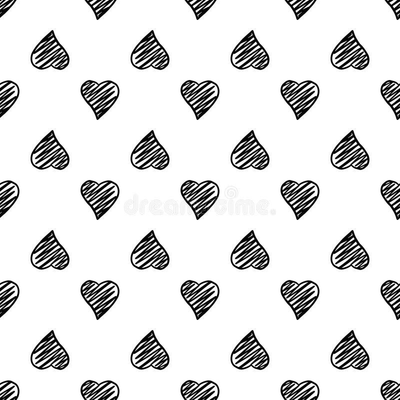 Modelo inconsútil de los corazones geométricos exhaustos de la mano negra en el fondo blanco stock de ilustración