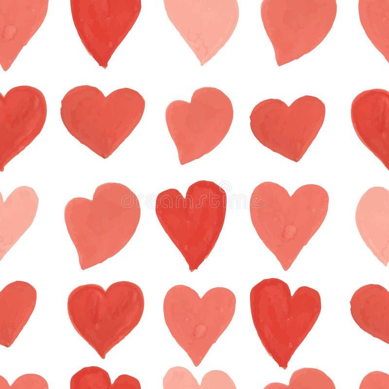 Modelo inconsútil de los corazones rojos y rosados de la acuarela ilustración del vector