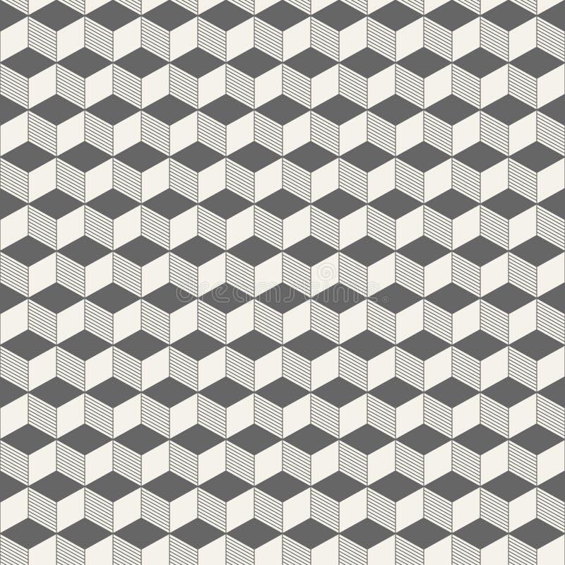 Modelo inconsútil de los cubos isométricos abstractos stock de ilustración