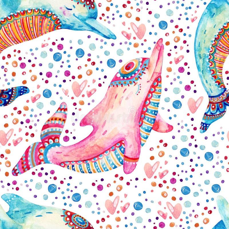 Modelo inconsútil de los delfínes preciosos de la acuarela en fondo con las burbujas ilustración del vector
