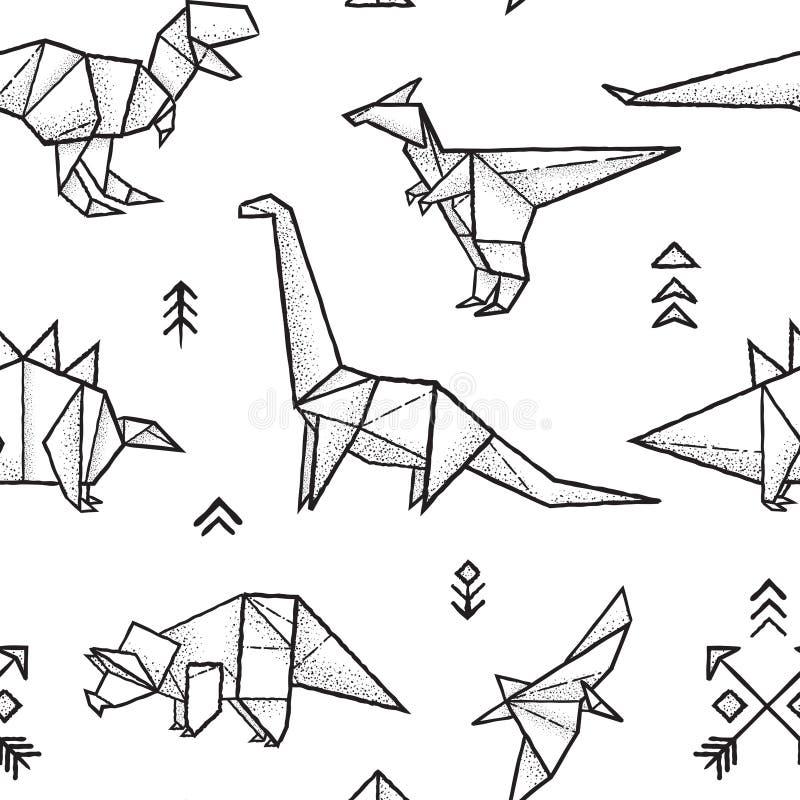 Modelo inconsútil de los dinosaurios de la papiroflexia en colores blancos y negros Ilustración drenada mano del vector stock de ilustración