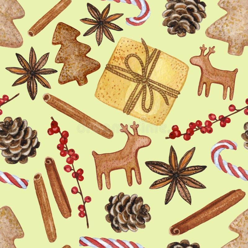 Modelo inconsútil de los diversos elementos decorativos del Año Nuevo y de la Navidad - ejemplo a mano del Watercolour stock de ilustración
