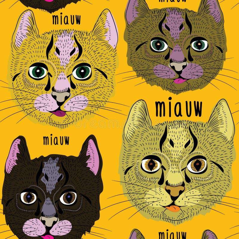 Modelo inconsútil de los diversos gatos lindos Ejemplo del vector en fondo anaranjado ilustración del vector