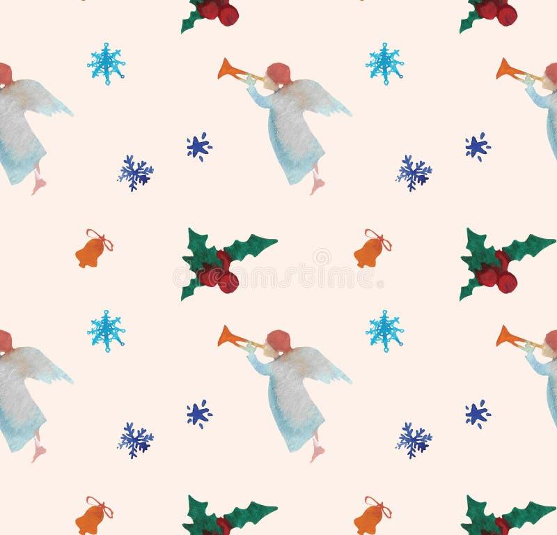 Modelo inconsútil de los ejemplos de la Navidad de la acuarela con ángeles Tema del Año Nuevo del invierno libre illustration