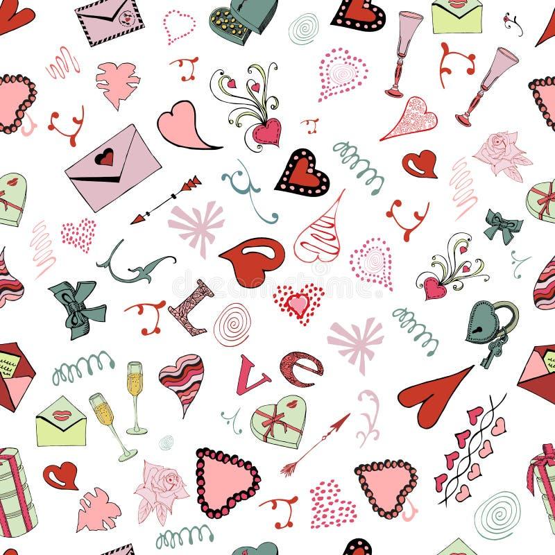 Modelo inconsútil de los elementos del garabato del tema del día de tarjeta del día de San Valentín La mano dibujada y coloreada  stock de ilustración