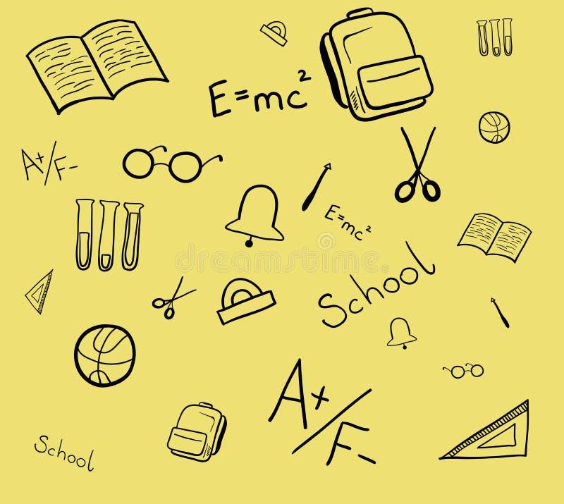 Modelo inconsútil de los elementos de la escuela Ilustraci?n aislada del vector ilustración del vector