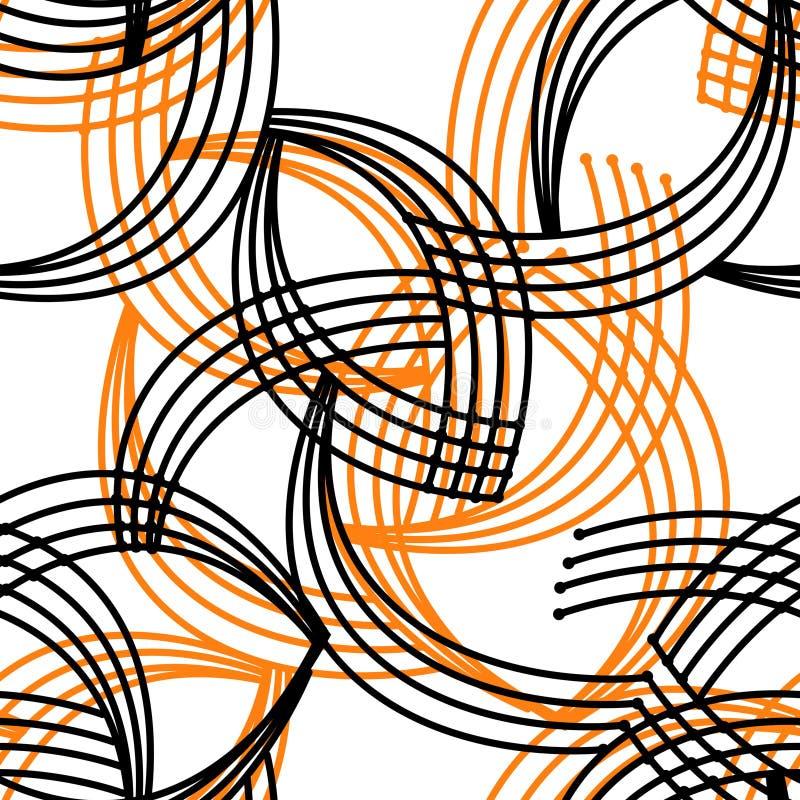 Modelo inconsútil de los elementos negros anaranjados brillantes abstractos geométricos libre illustration
