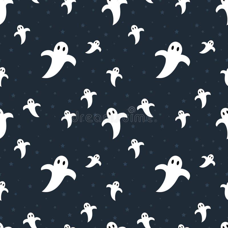 Modelo inconsútil de los fantasmas lindos de Halloween libre illustration