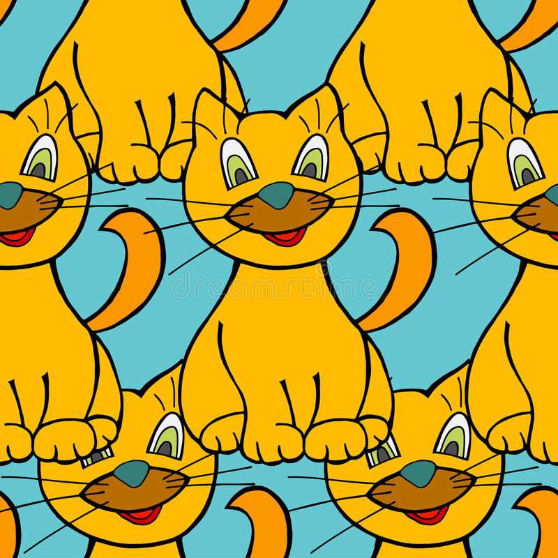 Modelo inconsútil de los gatos stock de ilustración