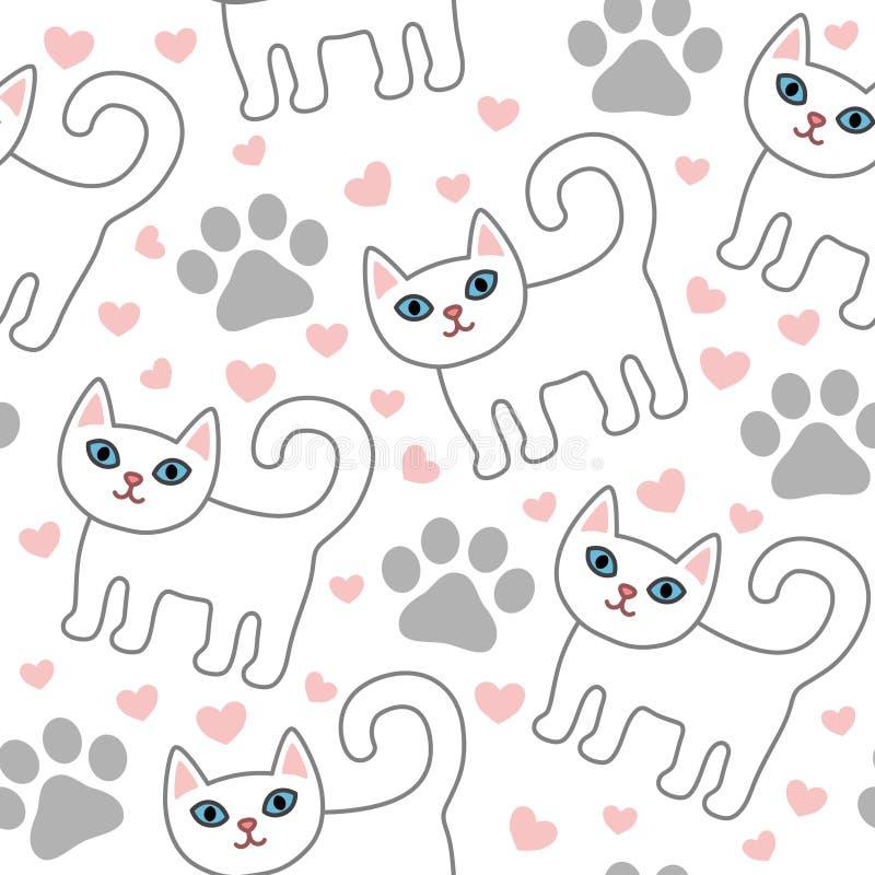 Modelo inconsútil de los gatos blancos con los corazones y las patas rosados libre illustration