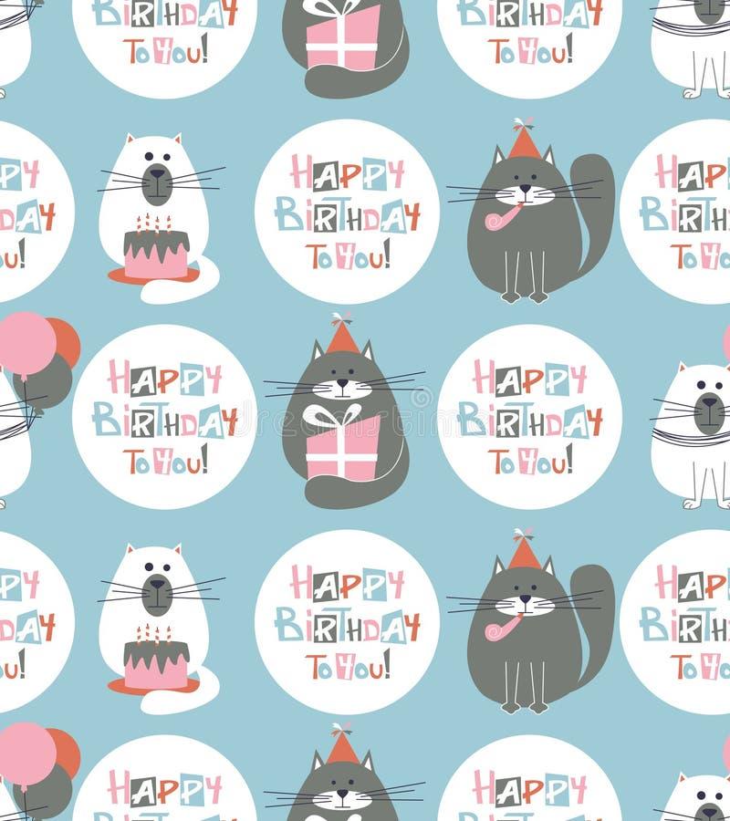 Modelo inconsútil de los gatos del cumpleaños stock de ilustración