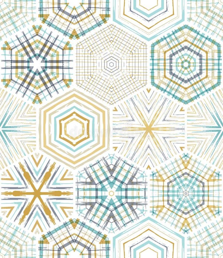 Modelo inconsútil de los hexágonos del bordado ilustración del vector