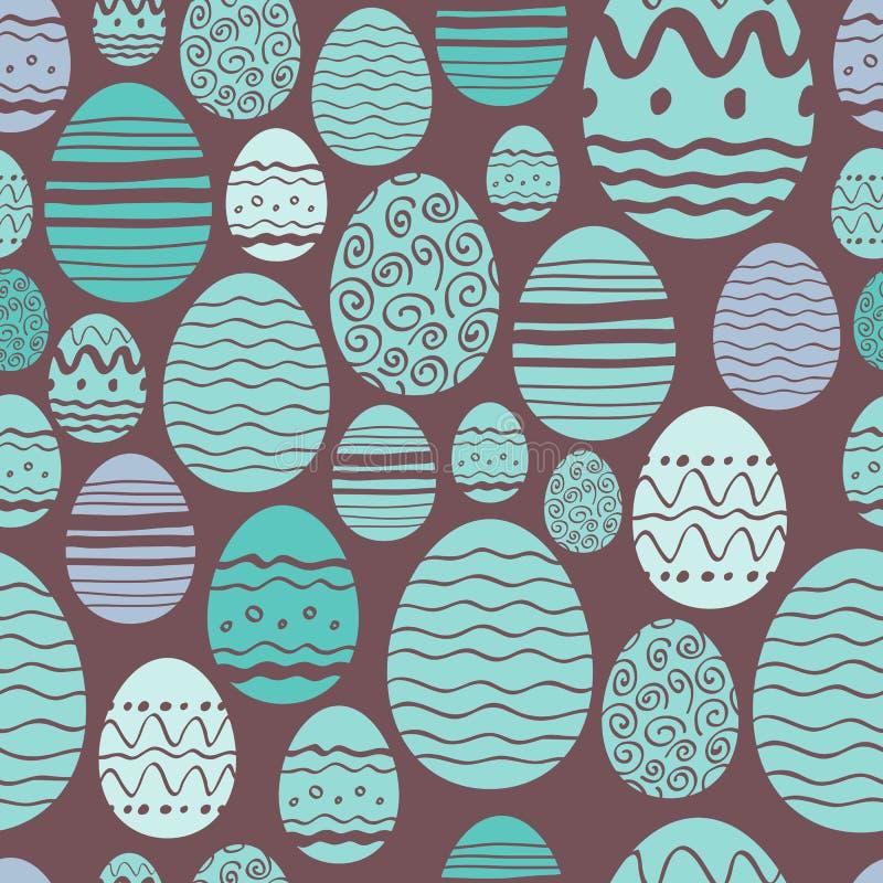 Modelo inconsútil de los huevos de Pascua en menta y marrón stock de ilustración