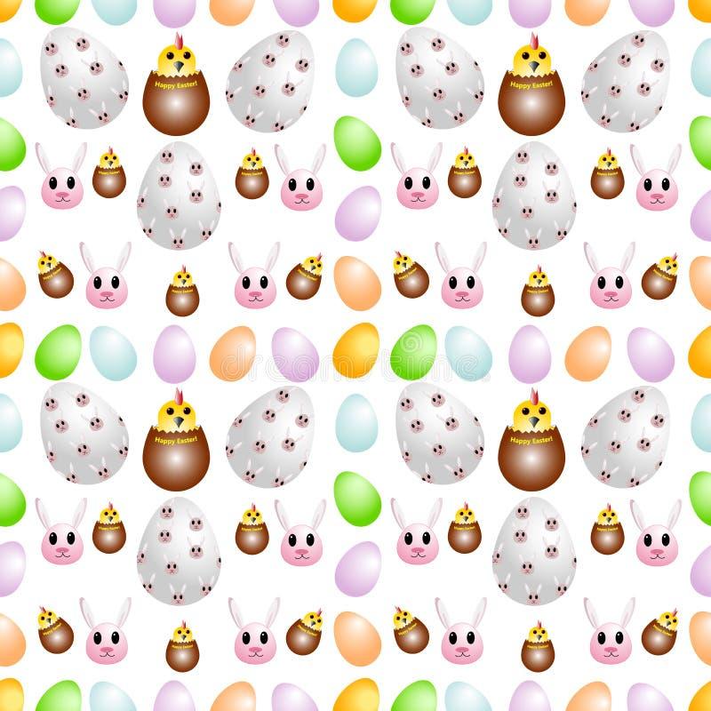 Modelo inconsútil de los huevos de Pascua, adornados con los conejos y los pollos divertidos ilustración del vector