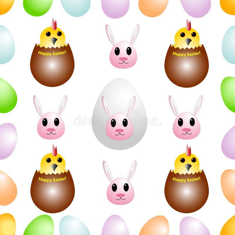 Modelo inconsútil de los huevos de Pascua, adornados con los conejos y los pollos divertidos Ilustración del vector ilustración del vector