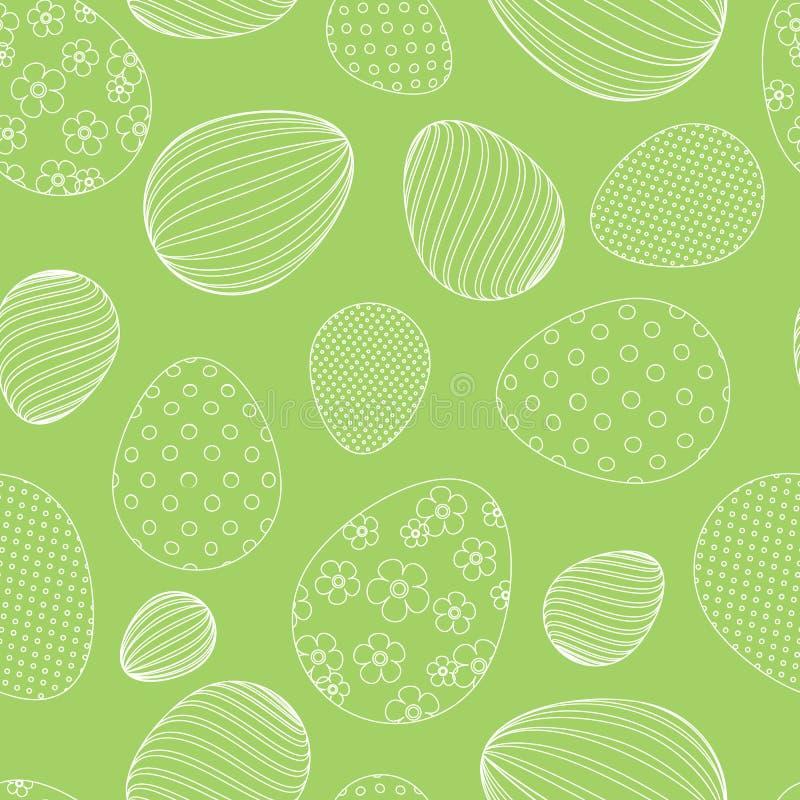 Modelo inconsútil de los huevos de Pascua blancos en un fondo festivo decorativo del fondo verde para el diseño de banderas de la ilustración del vector