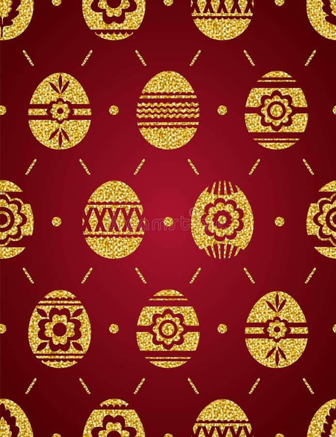 Modelo inconsútil de los huevos de Pascua de oro aislados en fondo rojo Huevos de Pascua del oro adornados con las flores Imprima ilustración del vector