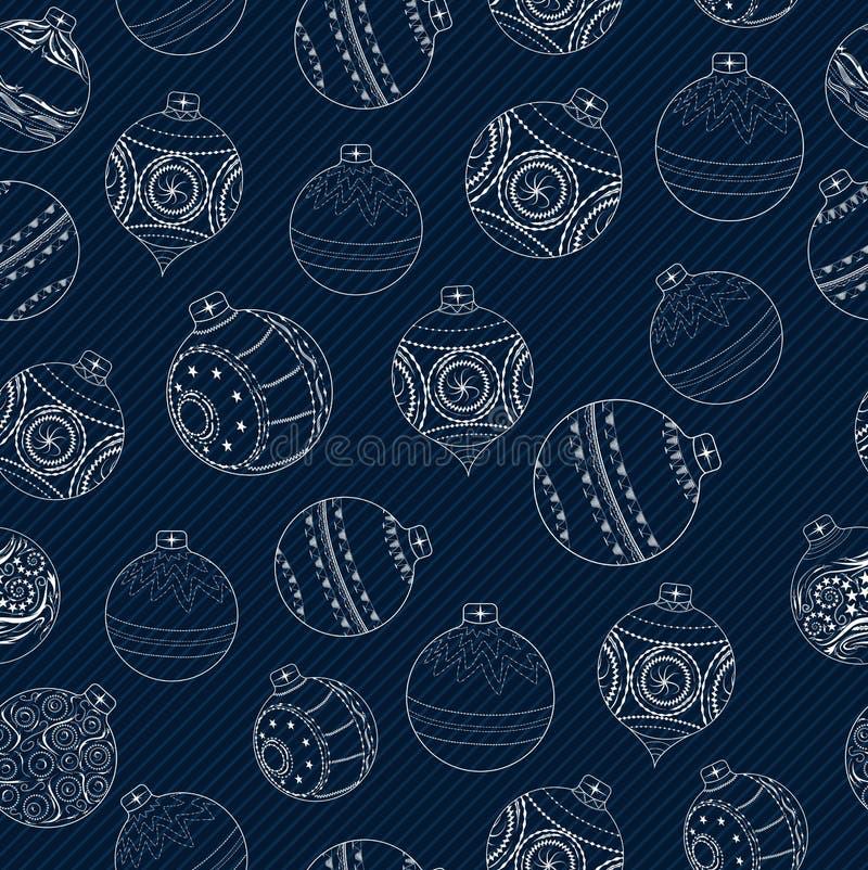 Modelo inconsútil de los iconos de la bola de la Navidad ilustración del vector