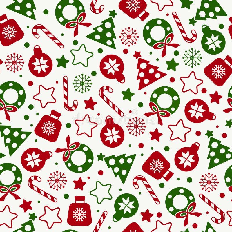 Modelo inconsútil de los iconos de la textura de la Navidad libre illustration