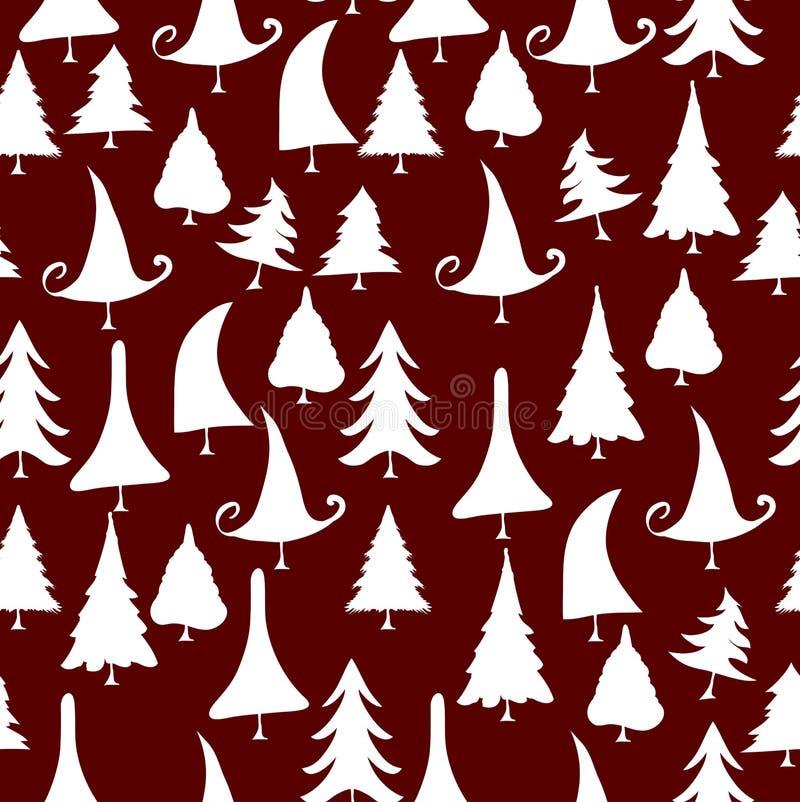modelo inconsútil de los iconos de los árboles de navidad del vintage libre illustration