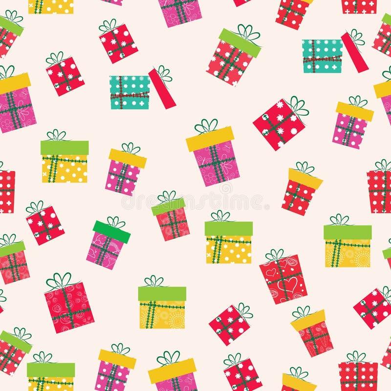 Modelo inconsútil de los iconos de los regalos de la Navidad ilustración del vector