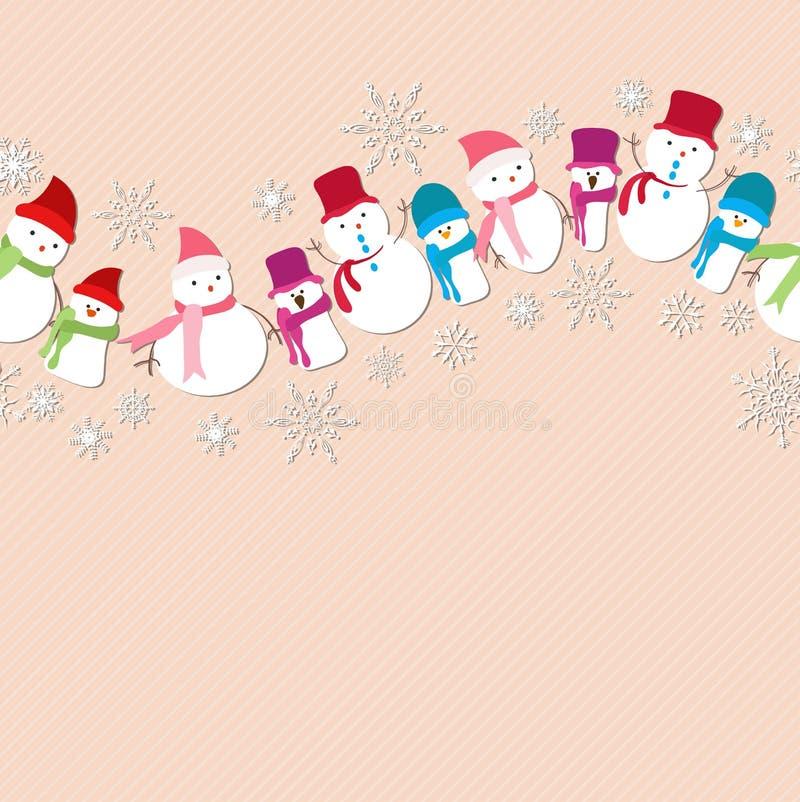 Modelo inconsútil de los iconos del muñeco de nieve de la Navidad ilustración del vector
