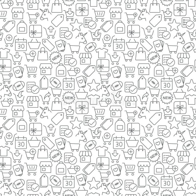 Modelo inconsútil de los iconos de las compras en el fondo blanco libre illustration