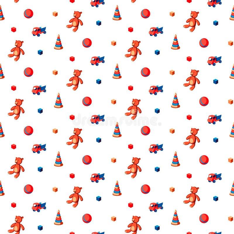 Modelo inconsútil de los juguetes de los niños con el oso, la bola, la descarga del camión, los anillos del arco iris y las unida stock de ilustración