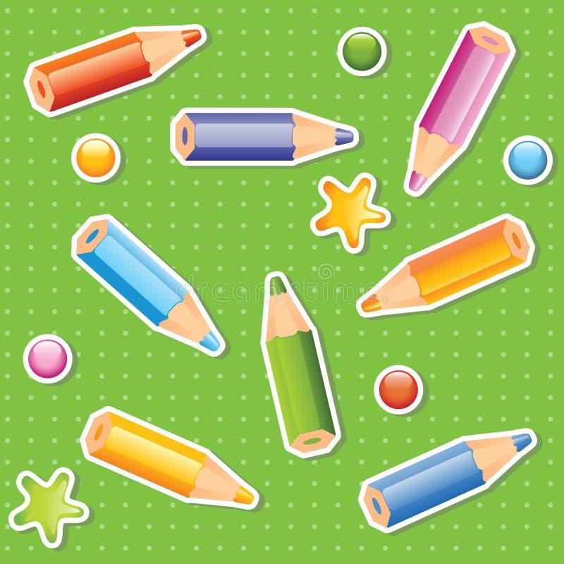 Modelo inconsútil de los lápices coloridos ilustración del vector