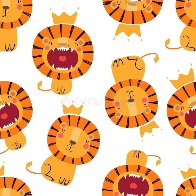 Modelo inconsútil de los leones lindos stock de ilustración