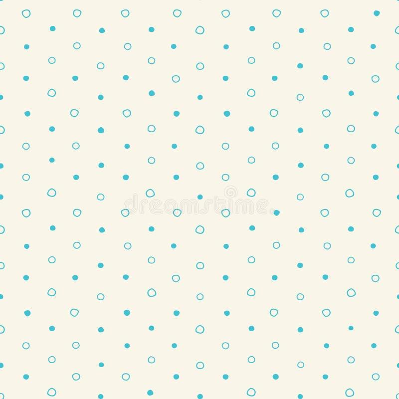 Modelo inconsútil de los lunares de la turquesa del vector irregular de los círculos Modelo inconsútil lindo Círculos de la turqu stock de ilustración